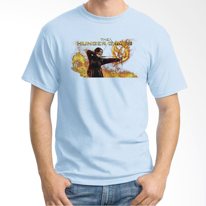 Ordinal Hunger Games 04 Biru Muda T-Shirt Pria