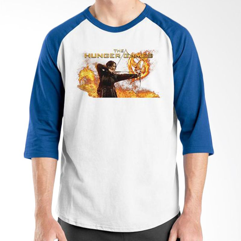 Ordinal Hunger Games 04 Raglan Putih Biru T-Shirt Pria