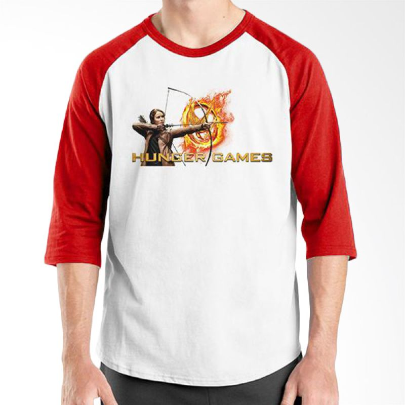 Ordinal Hunger Games 05 Raglan Putih Merah T-Shirt Pria
