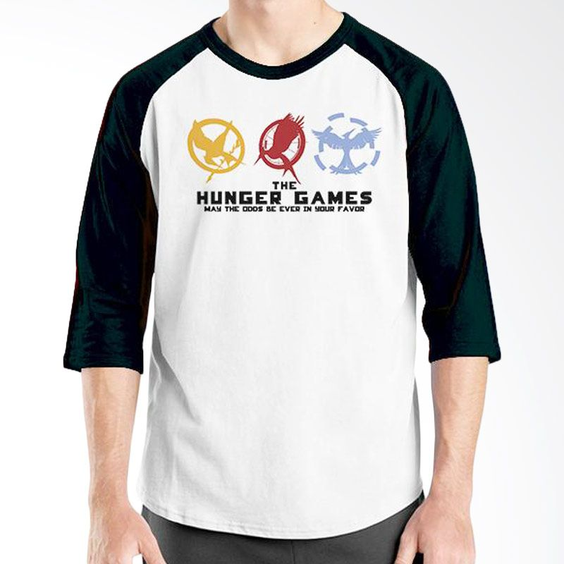 Ordinal Hunger Games 06 Raglan Putih Hitam T-Shirt Pria