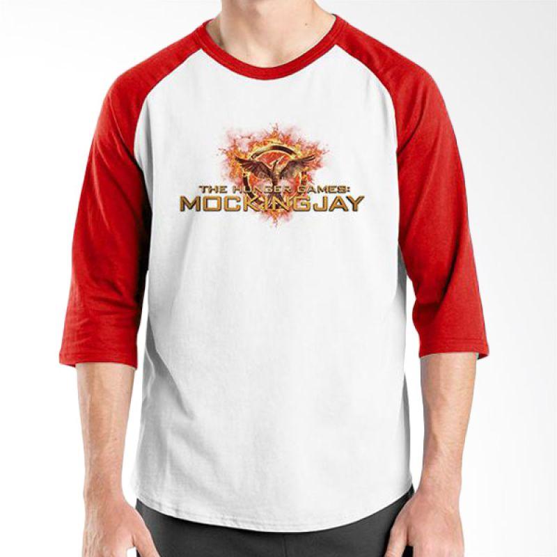 Ordinal Hunger Games Logo 01 Raglan Putih Merah T-Shirt Pria