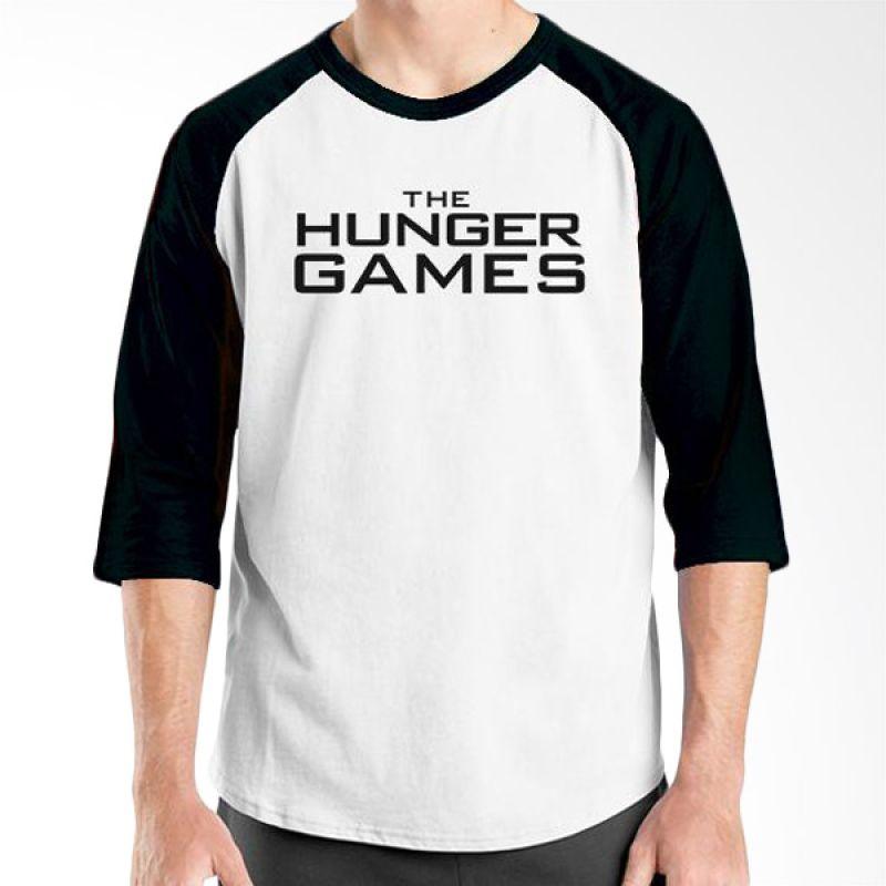 Ordinal Hunger Games Logo 02 Raglan Putih Hitam T-Shirt Pria