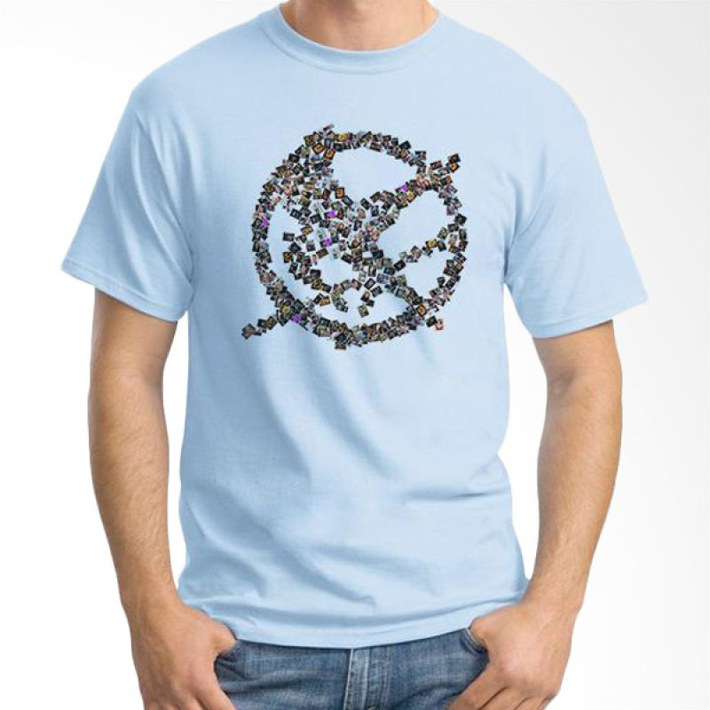 Ordinal Hunger Games Photo Biru Muda T-Shirt Pria