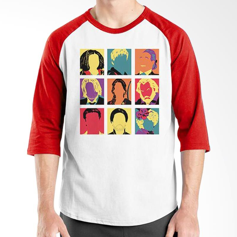 Ordinal Hunger Games Pop Art Raglan Putih Merah T-Shirt Pria