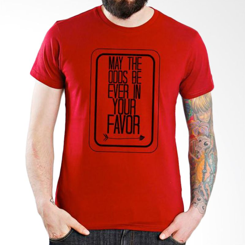 Ordinal Hunger Games Quote 01 Merah T-Shirt Pria