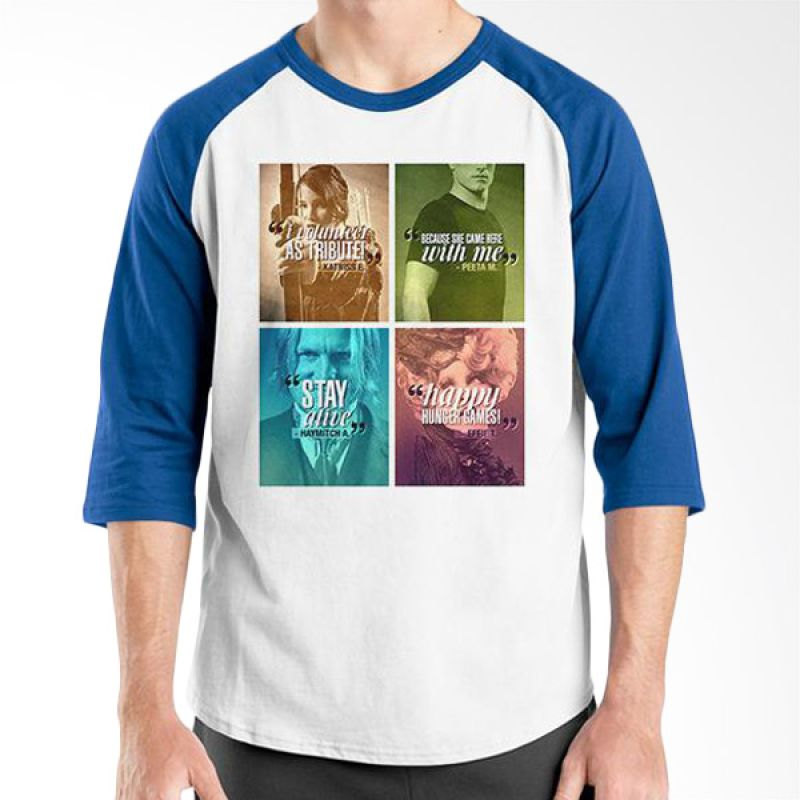 Ordinal Hunger Games Quote 03 Raglan Putih Biru T-Shirt Pria
