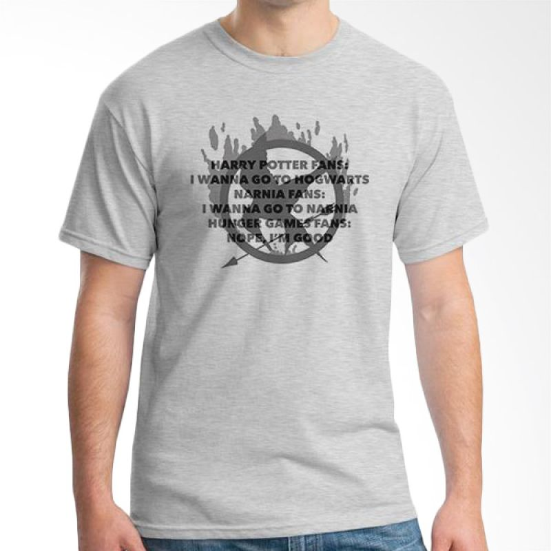Ordinal Hunger Games Quote 04 Abu-abu T-Shirt Pria