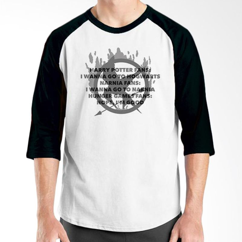 Ordinal Hunger Games Quote 04 Raglan Putih Hitam T-Shirt Pria