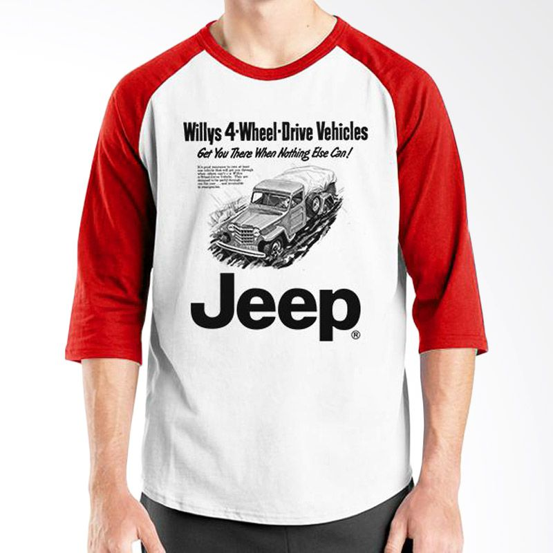 Ordinal Raglan Jeep Series Edition 04 Merah Putih T-Shirt Pria