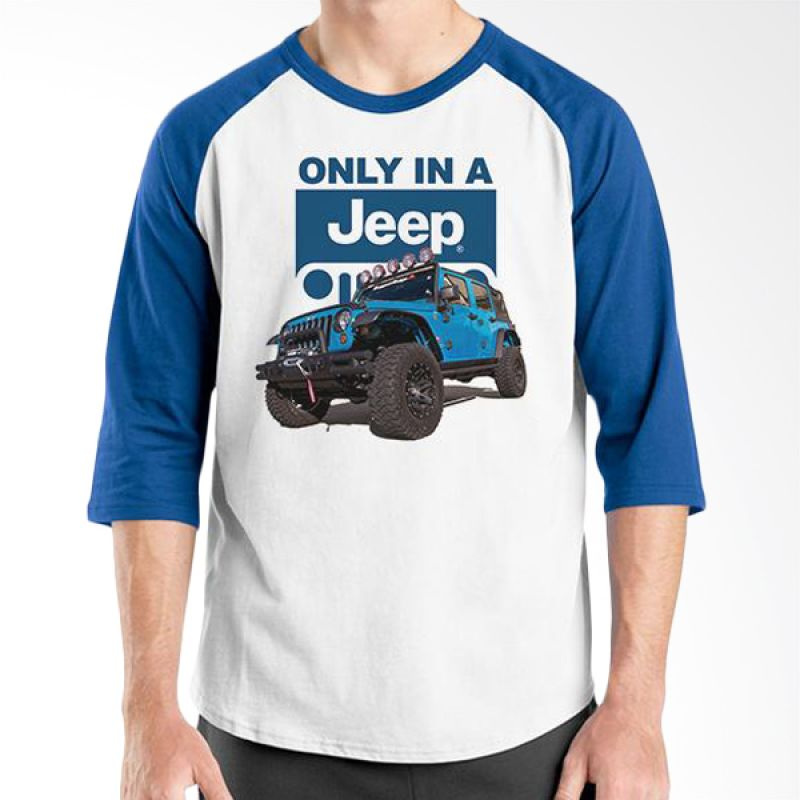 Ordinal Raglan Jeep Series Edition 07 Biru Putih T-Shirt Pria