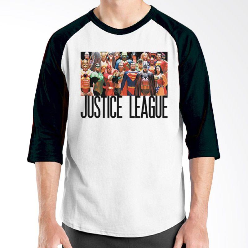 Ordinal Justice League 06 Raglan Hitam Putih Kaos Pria
