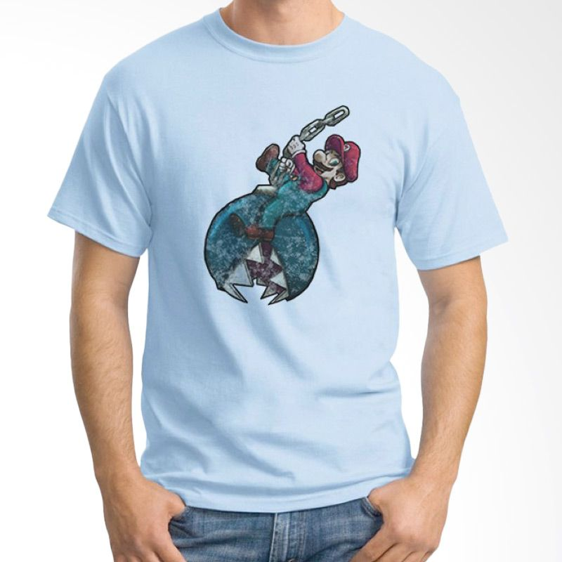 Ordinal Mario Artworks 02 Biru Muda Kaos Pria