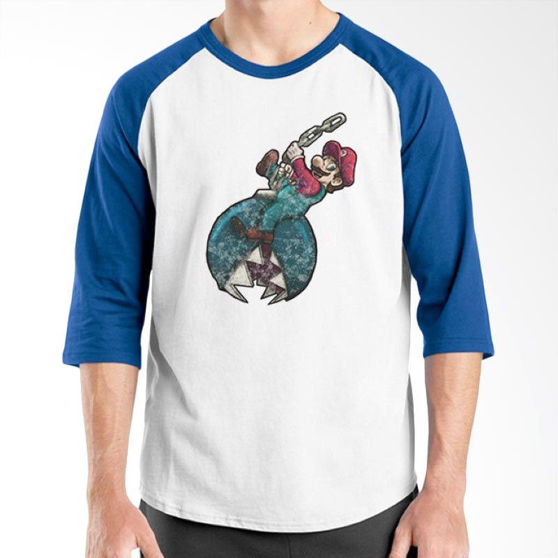 Ordinal Mario Artworks 02 Raglan Putih Biru Kaos Pria