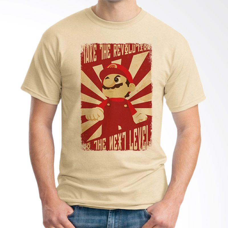 Ordinal Mario Artworks 07 Krem T-Shirt Pria