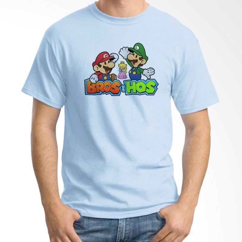 Ordinal Mario Artworks 10 Biru Muda Kaos Pria