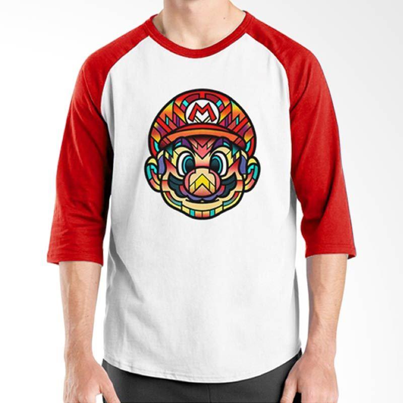 Ordinal Raglan Mario Artworks 12 Putih Merah Kaos Pria