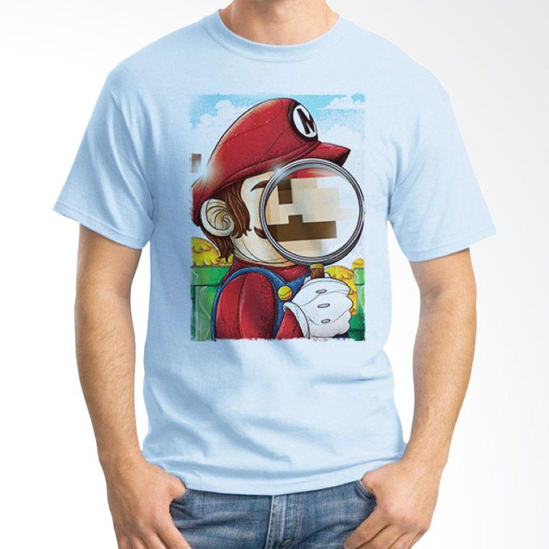Ordinal Mario Artworks 13 Biru Muda Kaos Pria