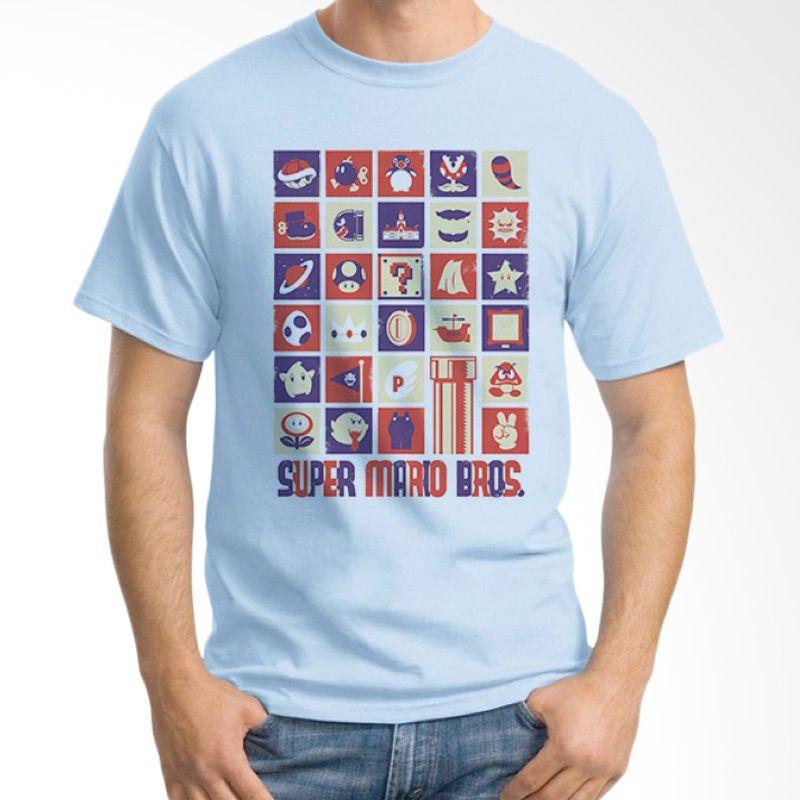 Ordinal Mario Artworks 21 Biru Muda Kaos Pria