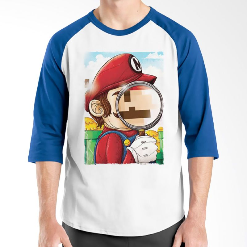 Ordinal Raglan Mario Artworks 13 Putih Biru Kaos Pria