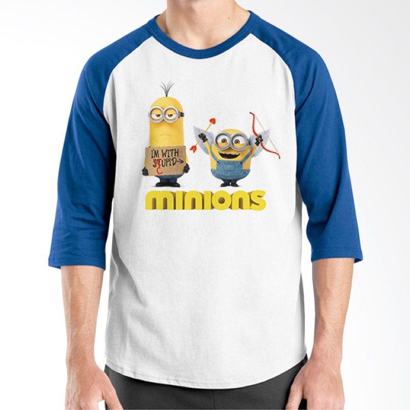 Ordinal Raglan Minions 06 Putih Biru T-Shirt Pria