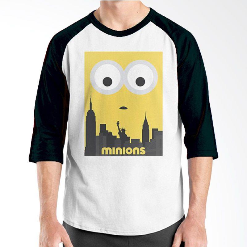 Ordinal Raglan Minions 12 Putih Hitam T-Shirt Pria