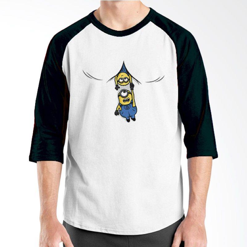 Ordinal Raglan Minions 13 Putih Hitam T-Shirt Pria