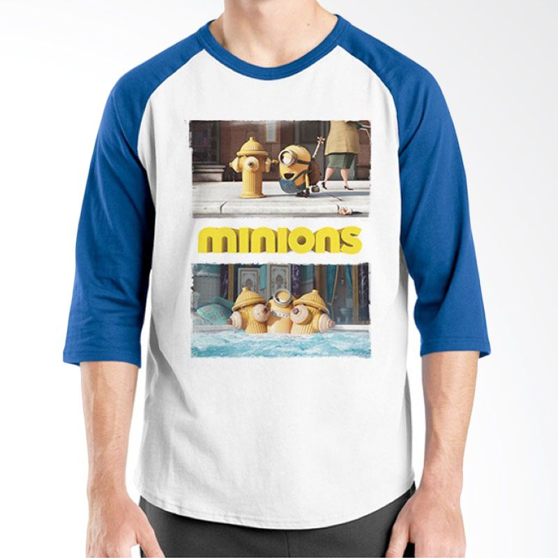 Ordinal Minions 15 Raglan Putih Biru T-Shirt Pria