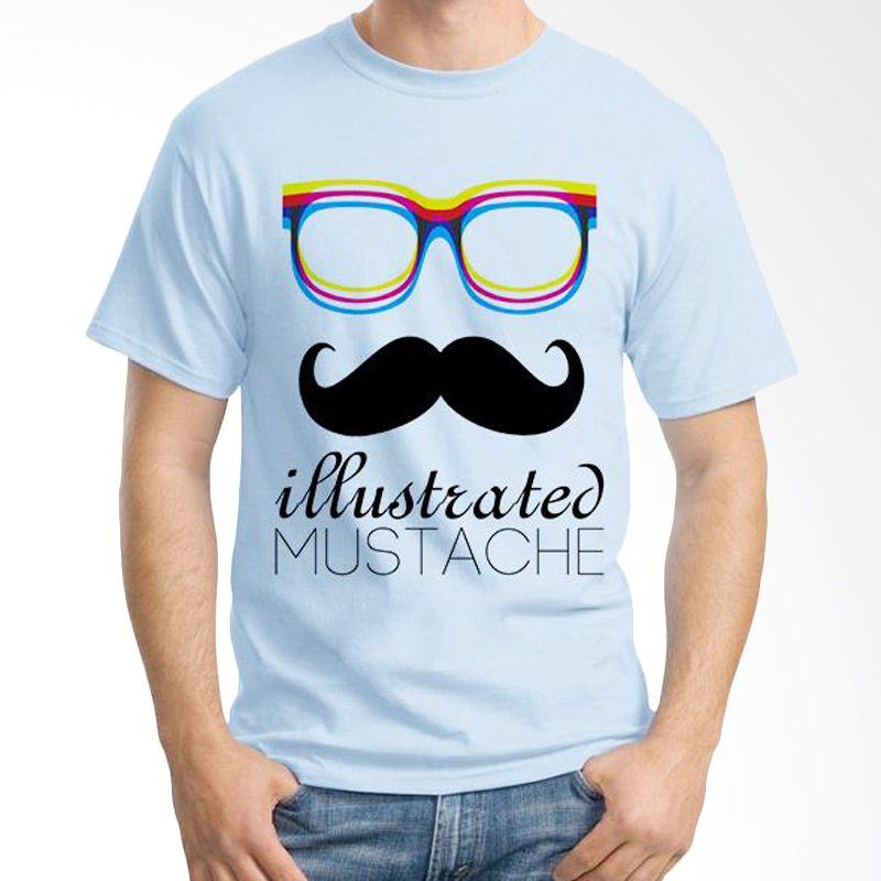 Ordinal Mustache Series 04 Biru Muda Kaos Pria