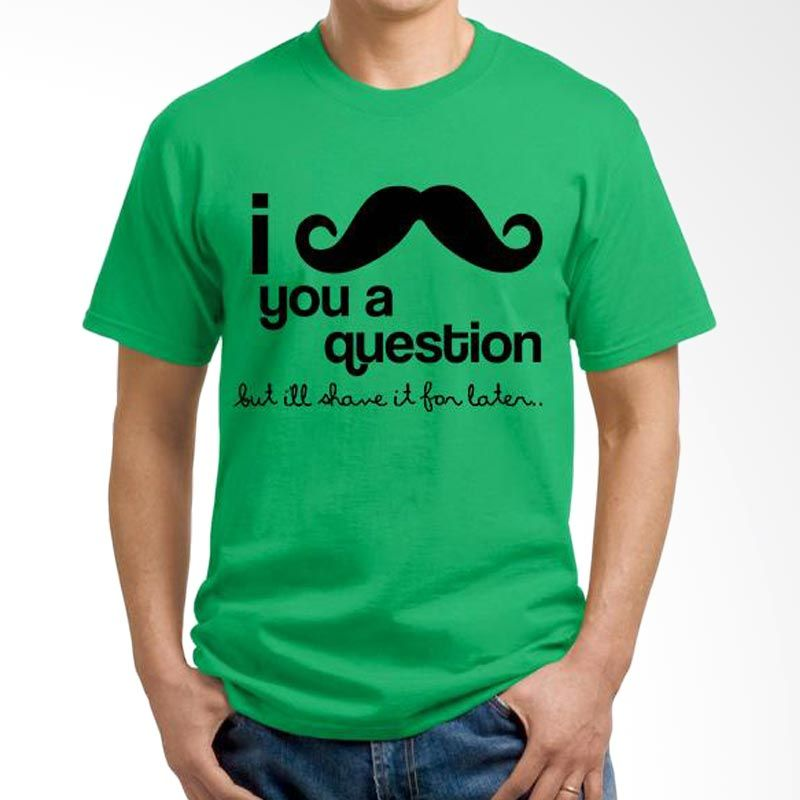 Ordinal Mustache Series 06 Hijau T-Shirt Pria