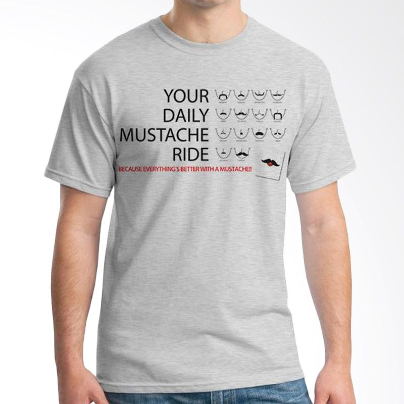 Ordinal Mustache Series 07 Abu-abu Kaos Pria