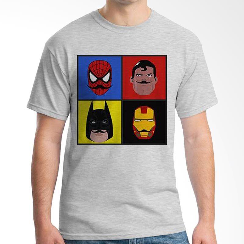 Ordinal Mustache Series 08 Abu-abu T-Shirt Pria