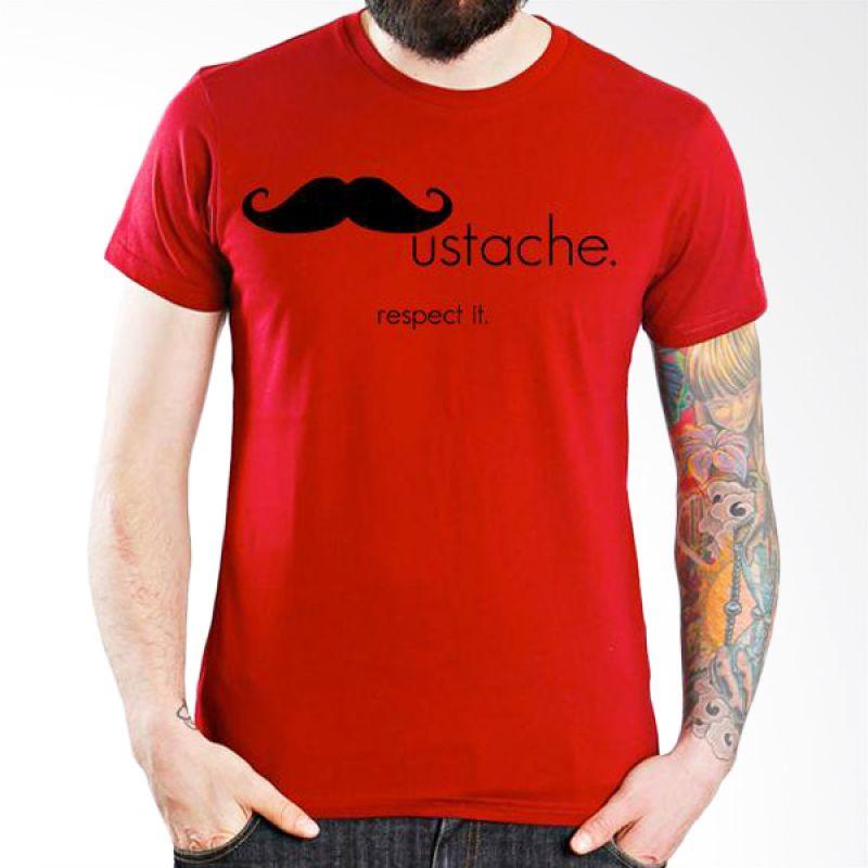 Ordinal Mustache Series 12 Merah Kaos Pria