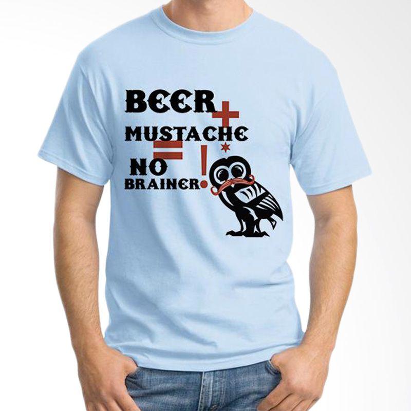Ordinal Mustache Series 13 Biru Muda T-Shirt Pria