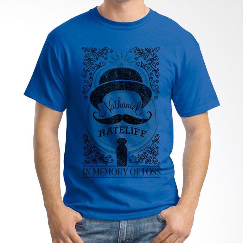 Ordinal Mustache Series 14 Biru Tua T-Shirt Pria