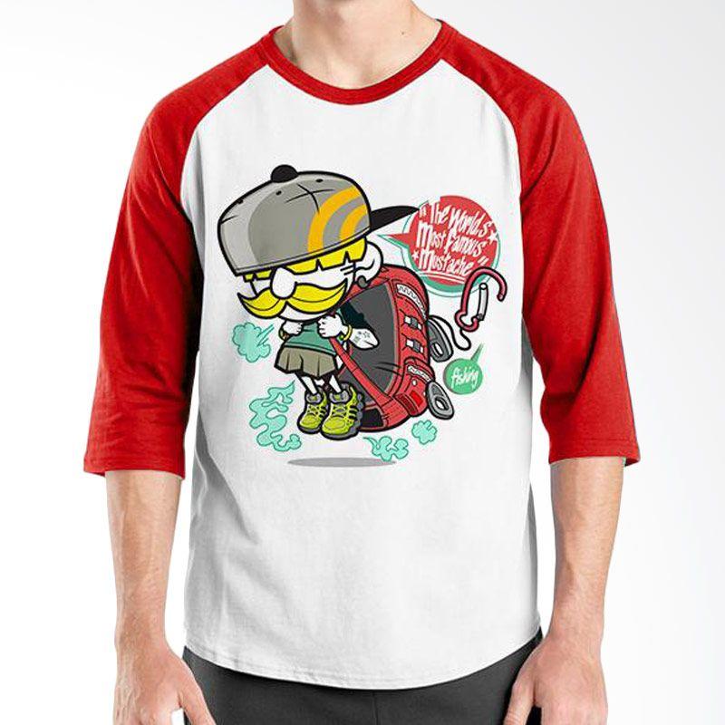 Ordinal Raglan Mustache Series 15 Merah Putih T-Shirt Pria