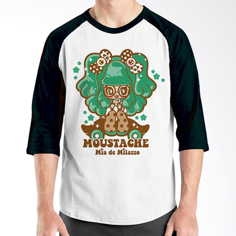 Ordinal Raglan Mustache Series 16 Hitam Putih T-Shirt Pria