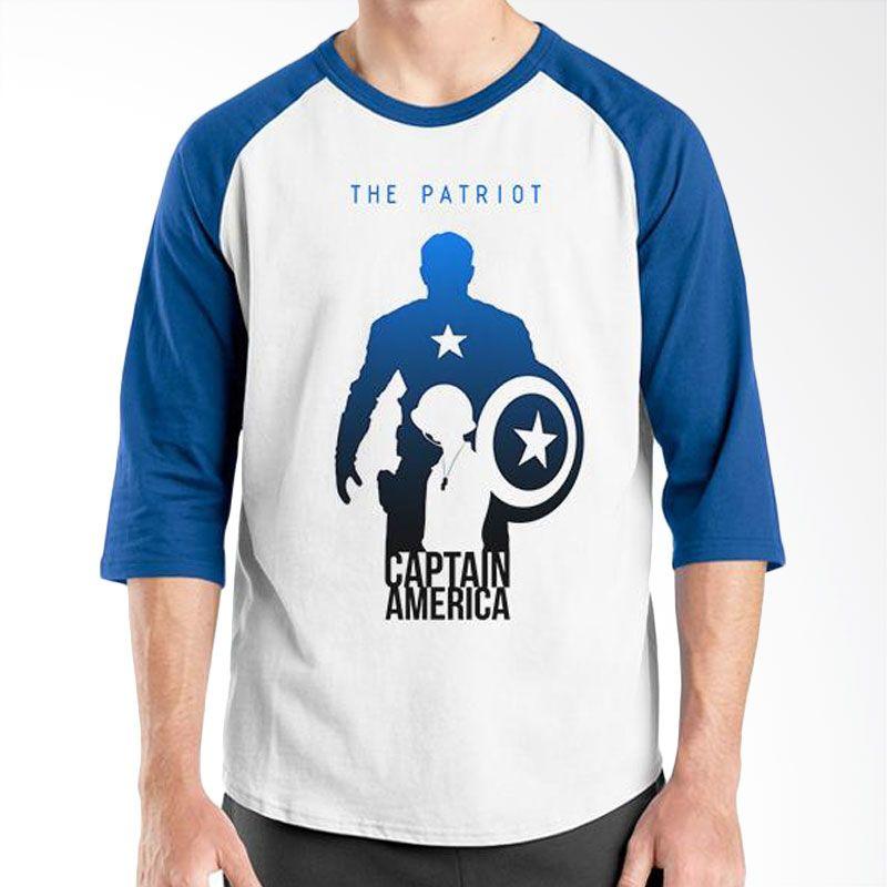 Ordinal New Captain America 02 Raglan Putih Biru Kaos Pria