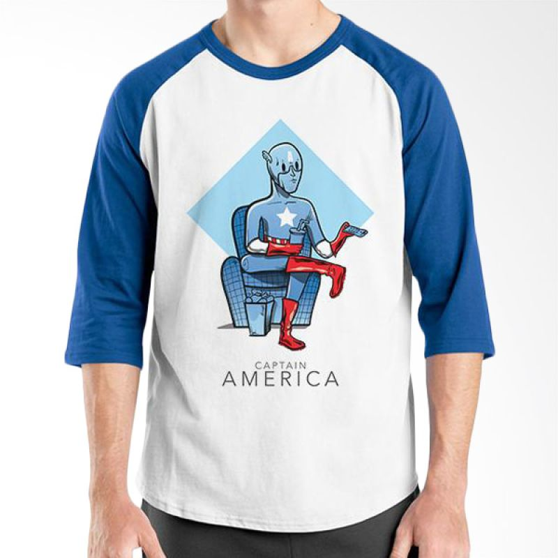Ordinal New Captain America 07 Raglan Putih Biru T-Shirt Pria