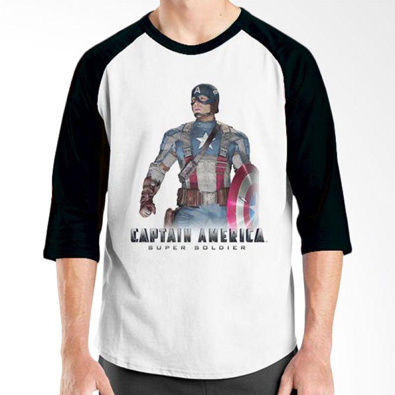 Ordinal New Captain America 08 Raglan Putih Hitam T-Shirt Pria