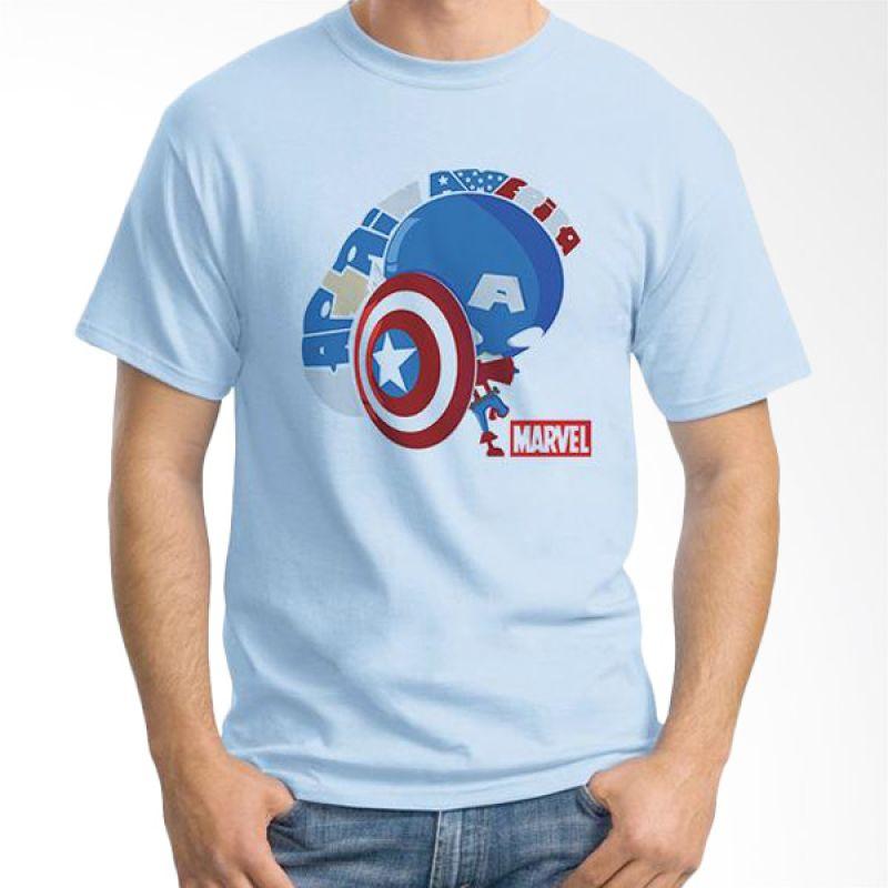Ordinal New Captain America 11 Biru Muda T-Shirt Pria
