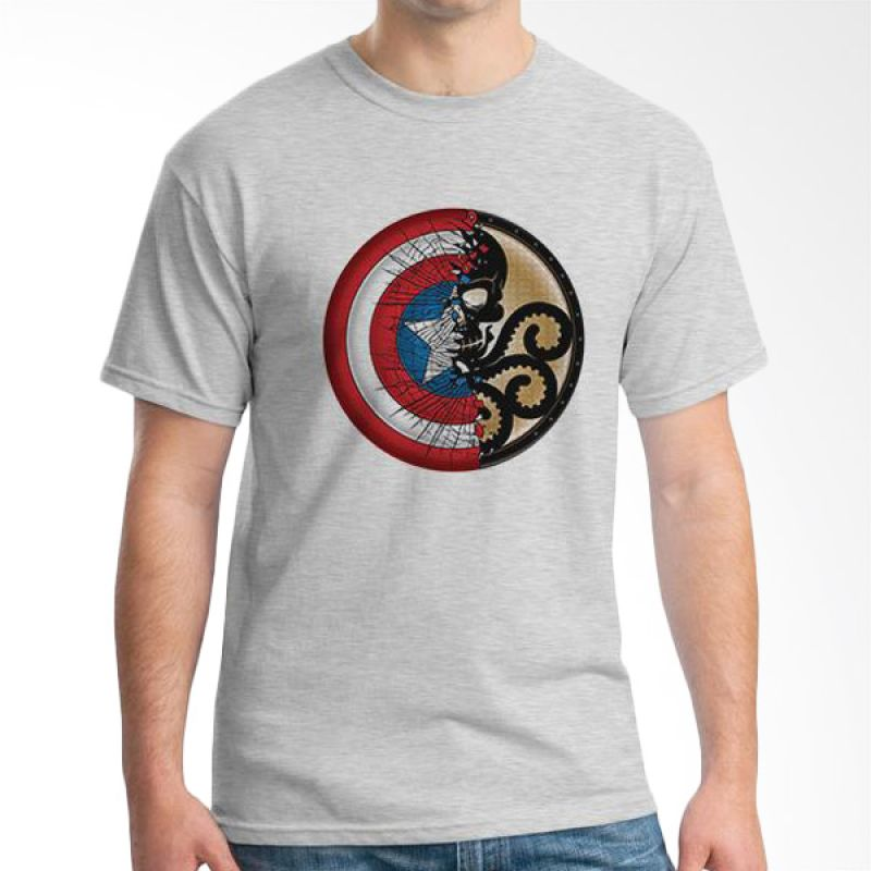 Ordinal New Captain America Logo 01 Grey T-Shirt Pria