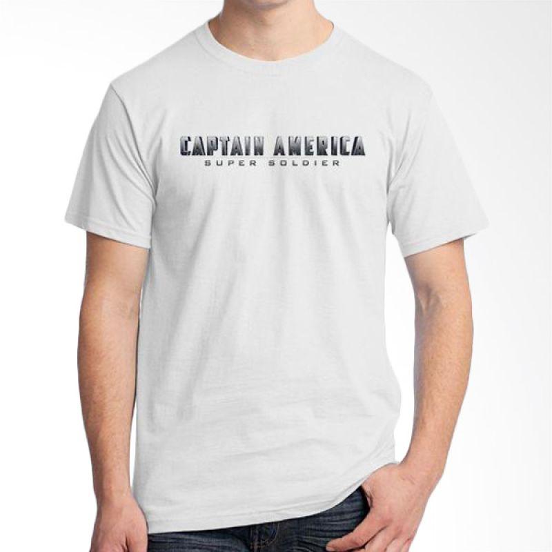 Ordinal New Captain America Logo 02 Putih T-Shirt Pria