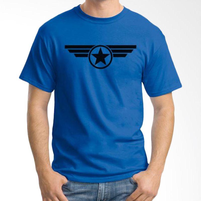 Ordinal New Captain America Logo 03 Biru Tua T-Shirt Pria
