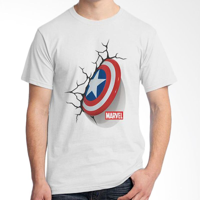 Ordinal New Captain America Logo 05 Putih T-shirt