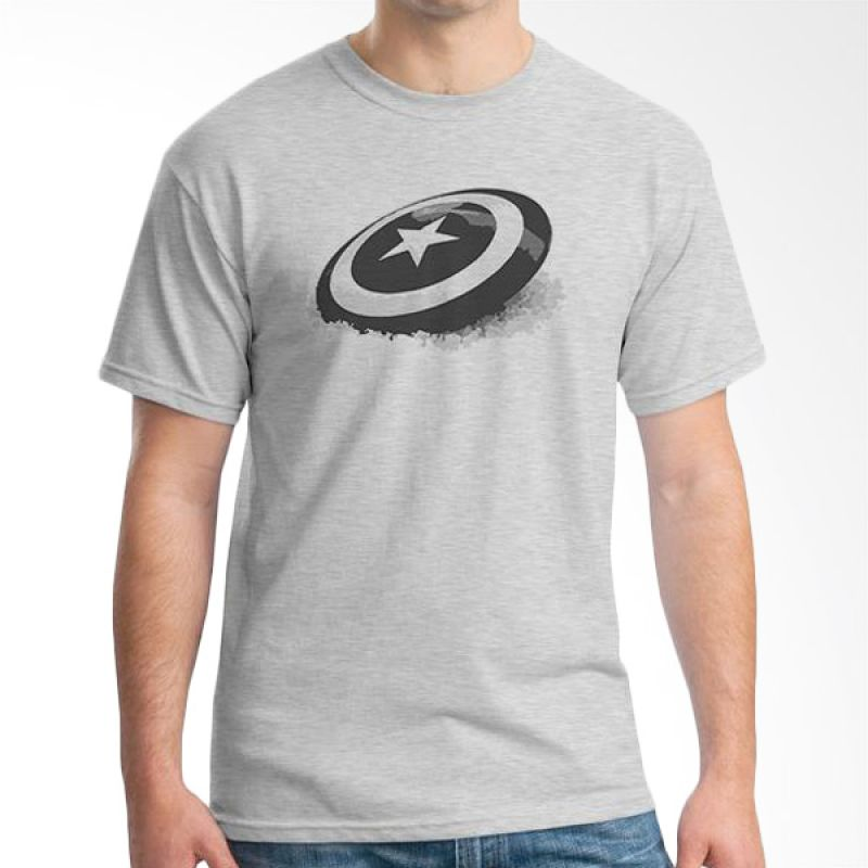 Ordinal New Captain America Logo 06 Grey T-Shirt Pria