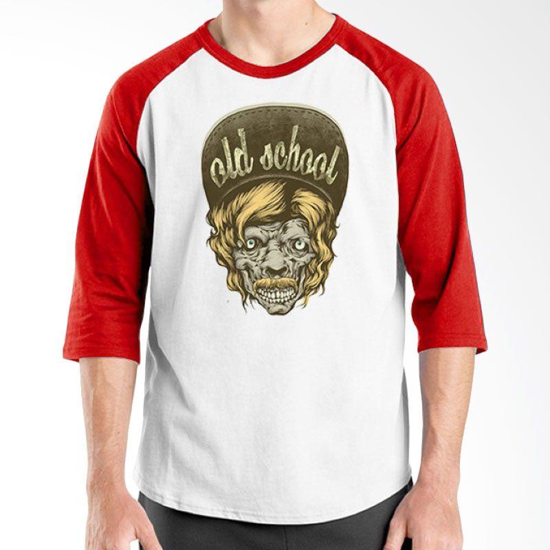 Ordinal Raglan Old School 02 Merah Putih Kaos Pria