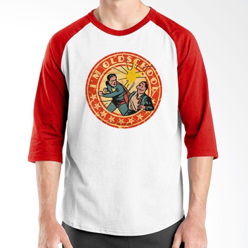 Ordinal Raglan Old School 04 Merah Putih Kaos Pria