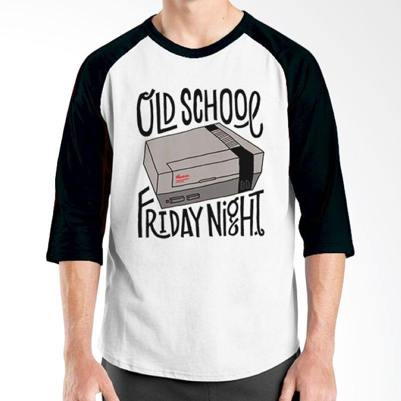 Ordinal Raglan Old School 09 Hitam Putih Kaos Pria