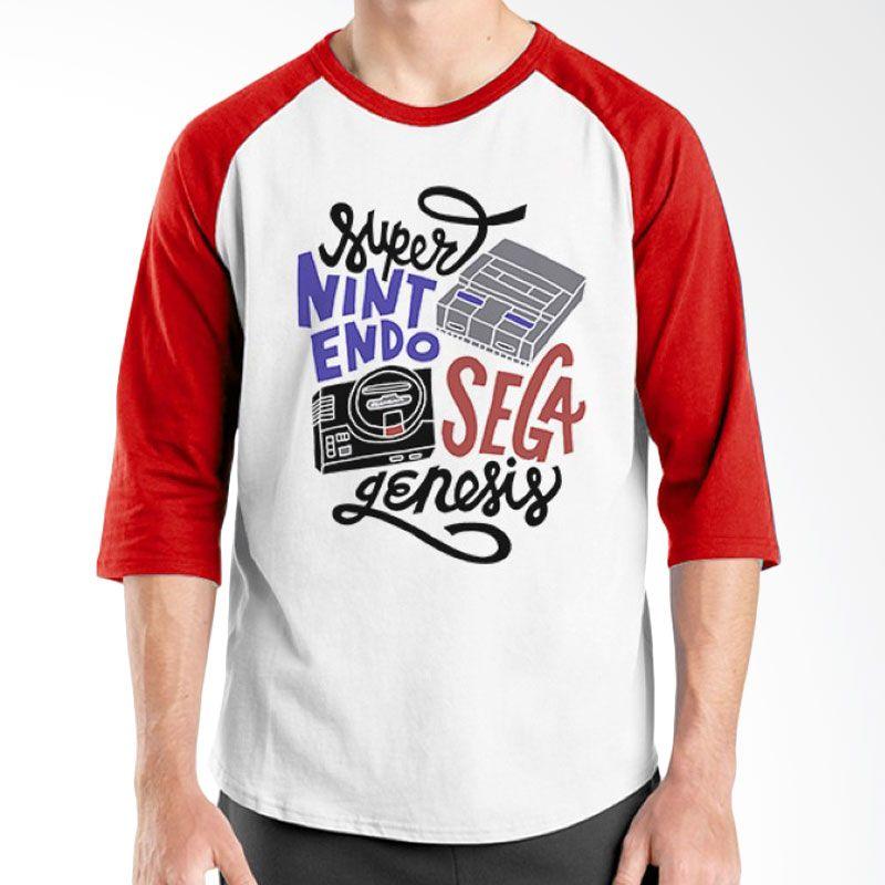Ordinal Raglan Old School 11 Merah Putih Kaos Pria