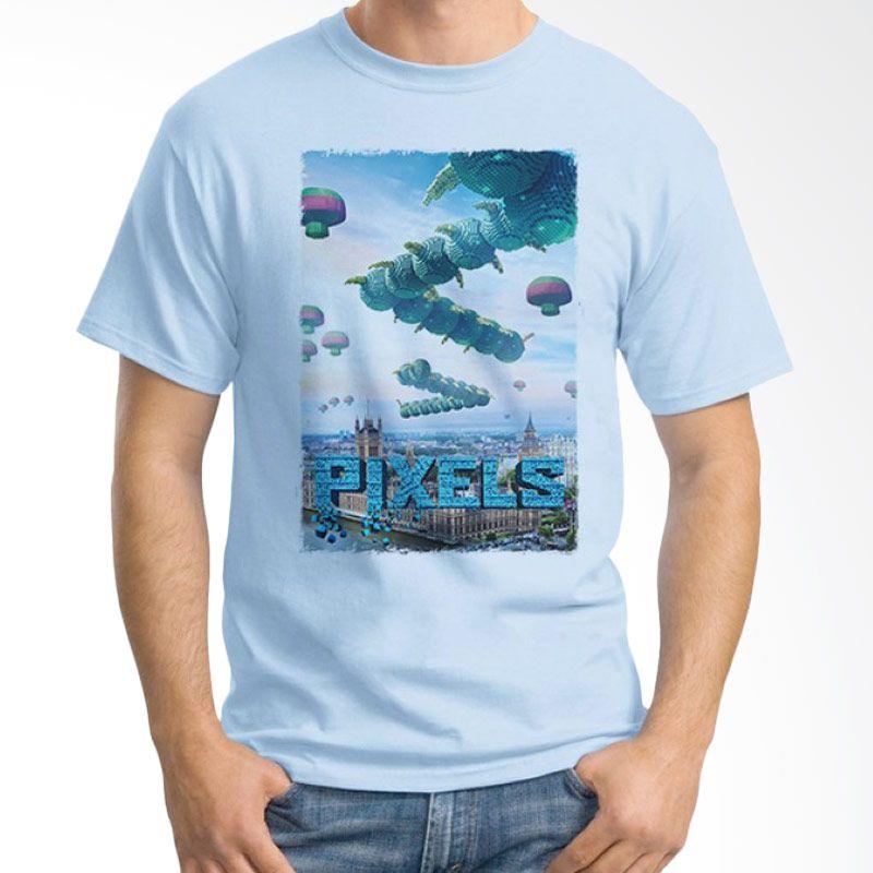 Ordinal Pixels Movie Edition 05 Biru Muda Kaos Pria